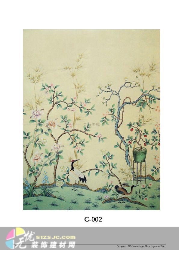 图片植物竹子绘墙画素材竹子墙绘中式建筑彩绘图案