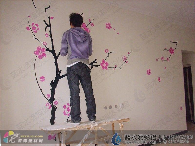 手绘墙壁画梅花展示
