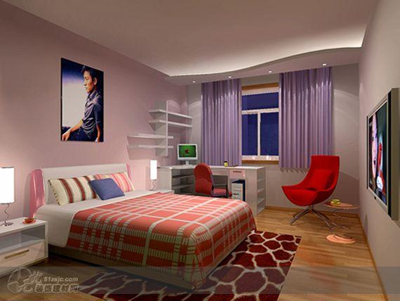 书房兼卧室_作品_家居设计图库_效果图,实景图,样板间