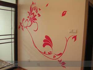 客厅影视墙手绘 作品 家居设计图库 效果图,实