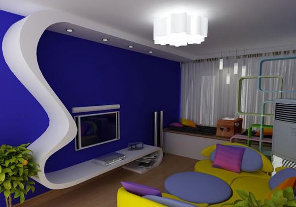 蓝色的电视背景墙,加上黄色的沙发给人一种通话世界