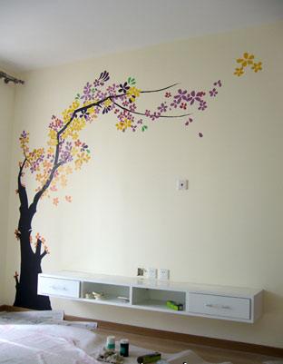 超美的手绘墙给家一个碧海晴天的感觉