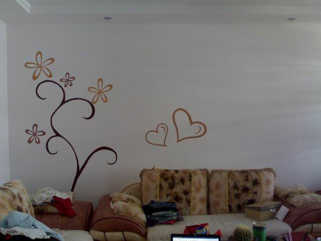 墙面贴画效果图 墙面沙发背景贴画 客厅贴画效果图